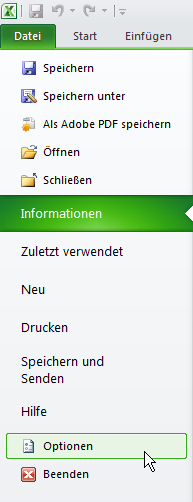 Die Excel-Optionen in Office 2010