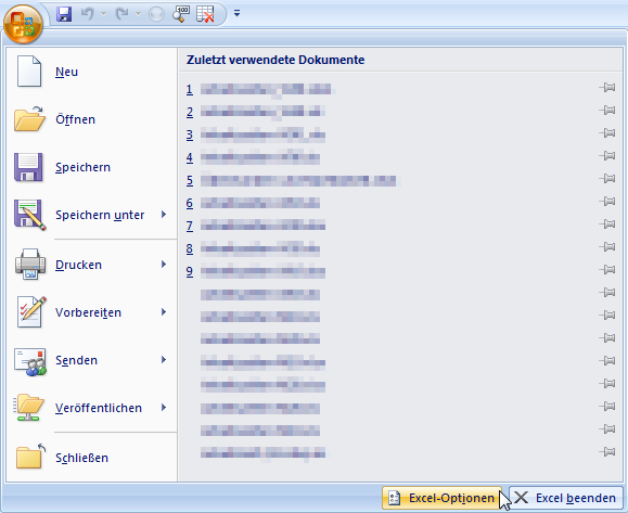 Die Excel-Optionen in Office 2007