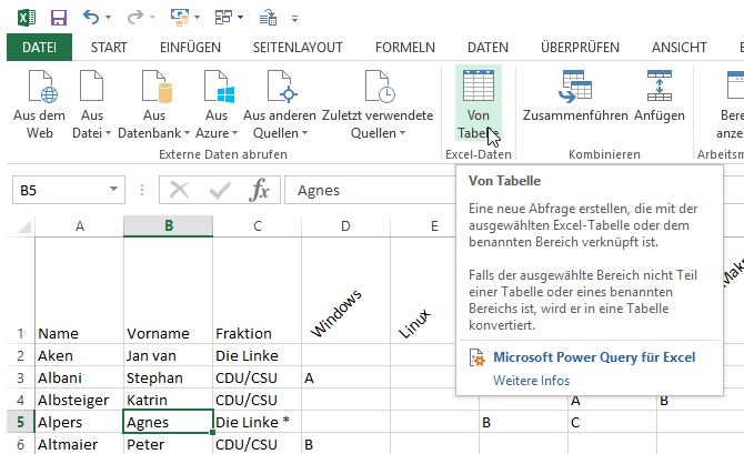 tabellen erstellen windows 10