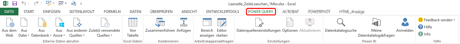 Menüband für das Power Query-Tool