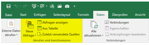 Power Query Funktionalität in Excel 2016