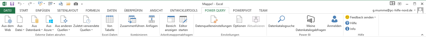 Das Menü-Band des Power Query